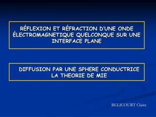 R É FLEXION ET R É FRACTION D'UNE ONDE  É LECTROMAGNETIQUE QUELCONQUE SUR UNE INTERFACE PLANE