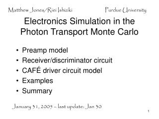 Electronics Simulation in the Photon Transport Monte Carlo