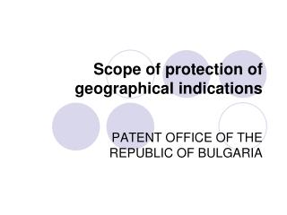 Scope of protection of geographical indications