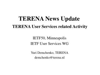 TERENA News Update