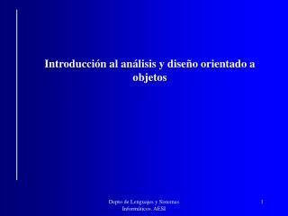 Introducción al análisis y diseño orientado a objetos