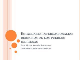 Estándares internacionales: derechos de los pueblos indígenas