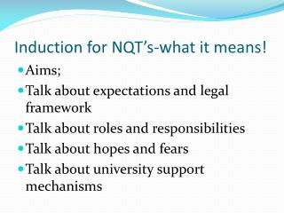 Induction for NQT's-what it means!
