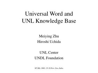 Universal Word and  UNL Knowledge Base