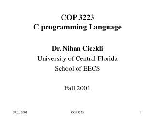 COP 3223 C programming Language