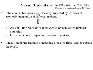 Regional Trade Blocks  International business is significantly impacted by schemes of