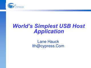 World�s Simplest USB Host Application