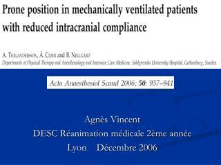 Agnès Vincent DESC Réanimation médicale 2ème année Lyon    Décembre 2006