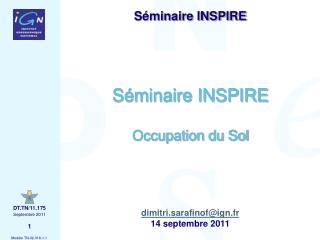 Séminaire INSPIRE Occupation du Sol