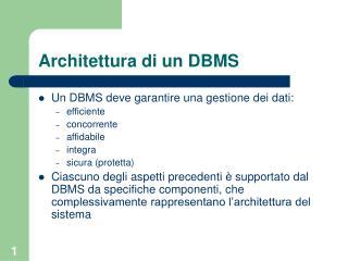 Architettura di un DBMS