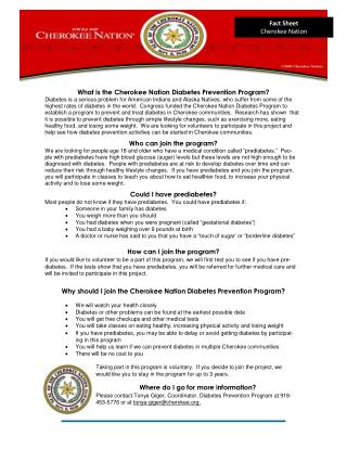 What  is  the Cherokee Nation Diabetes Prevention Pr o gram?