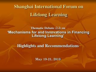 Shanghai International Forum on Lifelong Learning