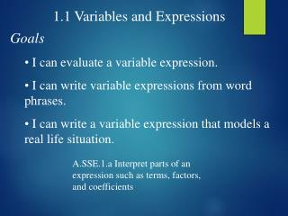 1.1 Variables and Expressions