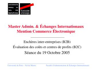 Master Admin. & Échanges Internationaux Mention Commerce Électronique