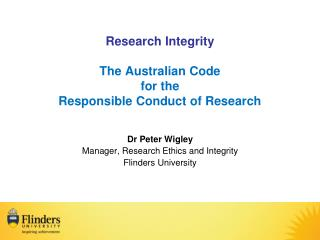 Research Integrity The Australian Code for the  Responsible Conduct of Research