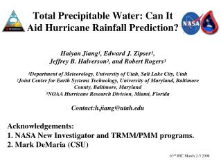 Total Precipitable Water: Can It Aid Hurricane Rainfall Prediction?