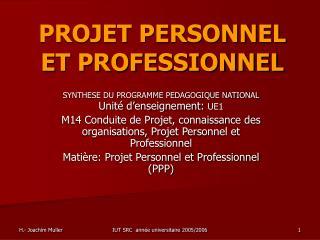 PROJET PERSONNEL ET PROFESSIONNEL