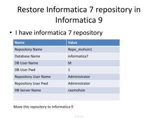 Restore Informatica 7 repository in Informatica 9