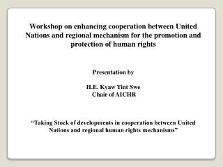 ASEAN Intergovernmental Commission on Human Rights (AICHR)