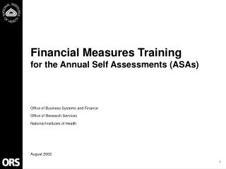 Financial Measures Training  for the Annual Self Assessments ASAs