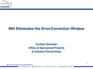 NIH Eliminates the Error/Correction Window