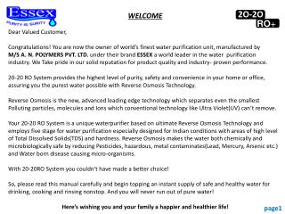 WELCOME Dear Valued Customer,