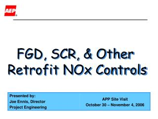 FGD, SCR, & Other  Retrofit NOx Controls
