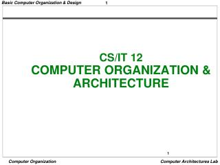 CS/IT 12  COMPUTER ORGANIZATION & ARCHITECTURE