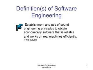 Definition(s) of Software Engineering