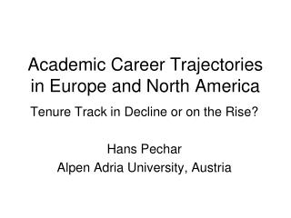 Academic Career Trajectories in Europe and North America