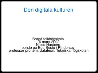 Den digitala kulturen