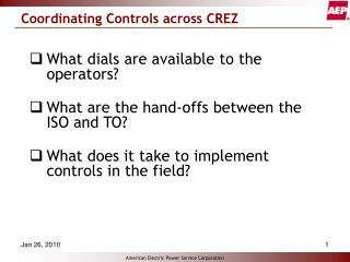Coordinating Controls across CREZ