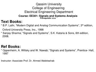 Qassim University College of Engineering  Electrical Engineering Department