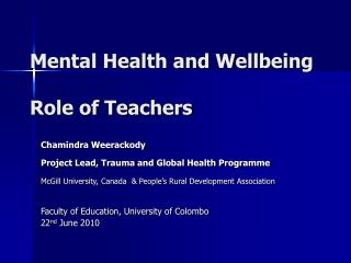 Mental Health and Wellbeing Role of Teachers