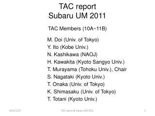 TAC report Subaru UM  2011