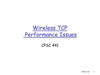 Wireless TCP  Performance Issues