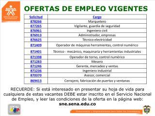 OFERTAS DE EMPLEO VIGENTES