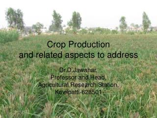 Crop Production and related aspects to address