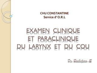 CHU CONSTANTINE Service d' O.R.L