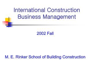 International Construction  Business Management