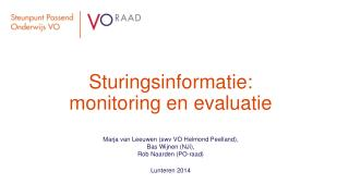 Sturingsinformatie: monitoring en evaluatie
