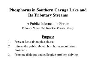 Phosphorus in Southern Cayuga Lake and Its Tributary Streams