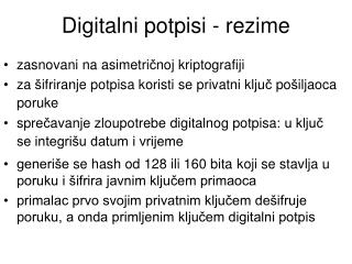 Digitalni potpisi  - rezime