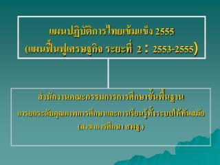 แผนปฏิบัติการไทยเข้มแข็ง 2555 (แผนฟื้นฟูเศรษฐกิจ ระยะที่  2  :  2553-2555 )