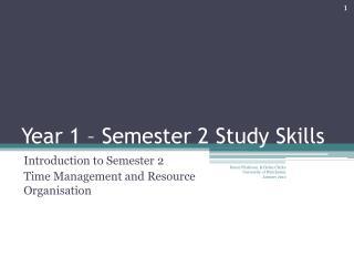 Year 1 – Semester 2 Study Skills