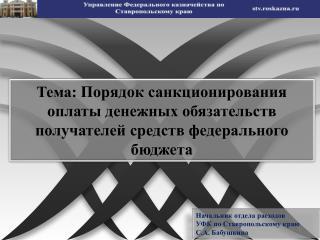 Начальник отдела расходов  УФК по Ставропольскому краю С.А. Бабушкина