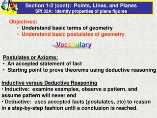 Section 1-2 (cont):  Points, Lines, and Planes SPI 32A:  Identify properties of plane figures