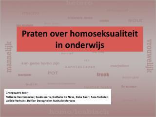 Praten over homoseksualiteit  in onderwijs