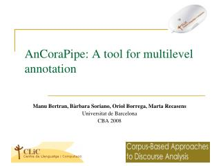 AnCoraPipe : A tool for multilevel annotation