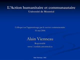 L'Action humanitaire et communautaire Université de Montréal